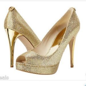 Michael Kors Gold Peep Toe Heels